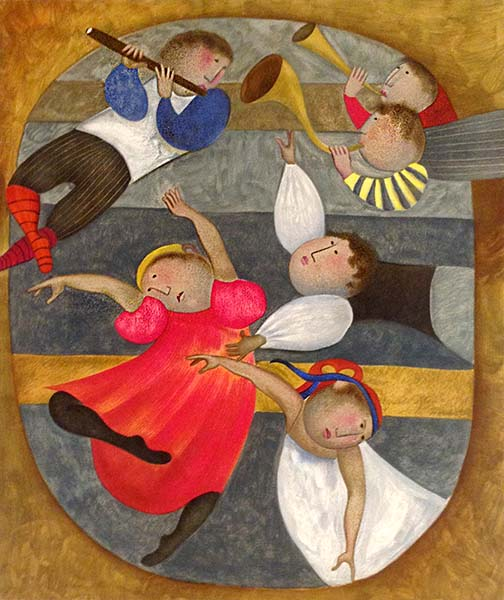 Graciela Boulanger - Movements Suite - Adagio print of people dancing and playing horns and a flute