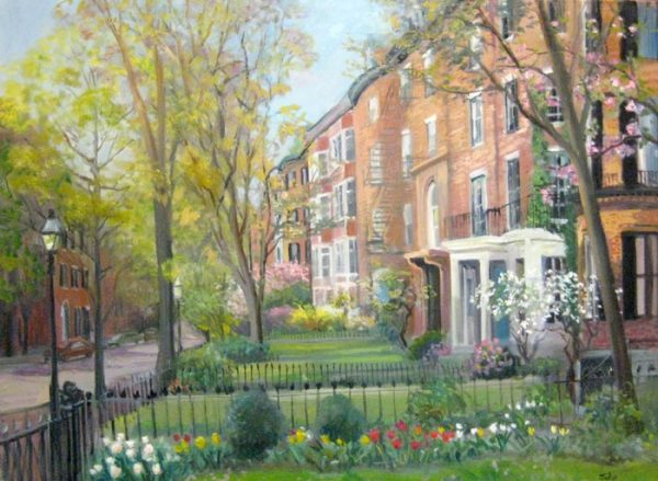 Celia Judge Traditional Oil Painting of Beacon Hill Mt Vernon St Boston with Trees and Brownstones