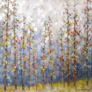 Jeff Koehn Contemporary Landscape Oil Painting of Aspen Trees in Colorado Forest