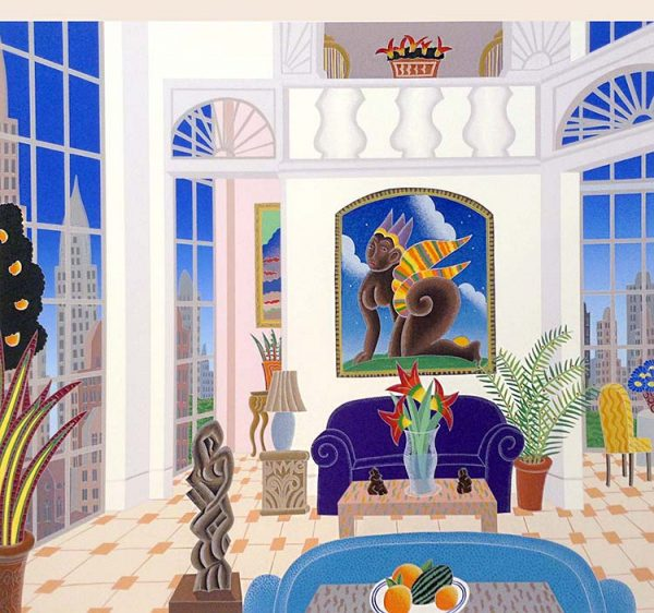 Thomas McKnight - Murray Hill print of room with large painting overlooking city