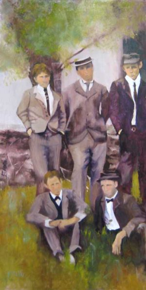 Pat Foster Oil Painting of Men in Old Fashioned Suits and Hats at the Museum