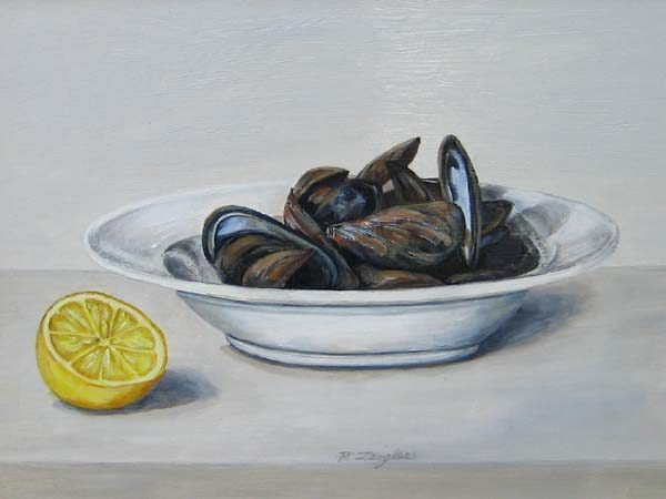 Oil Painting of bowl of mussels and lemon