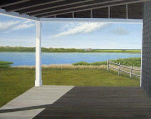 Frank Weitzman My Favorite Porch painting of house overlooking lake