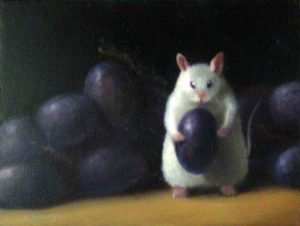Stuart Dunkel Small Painting on Board of Mouse Eating Purple Grapes