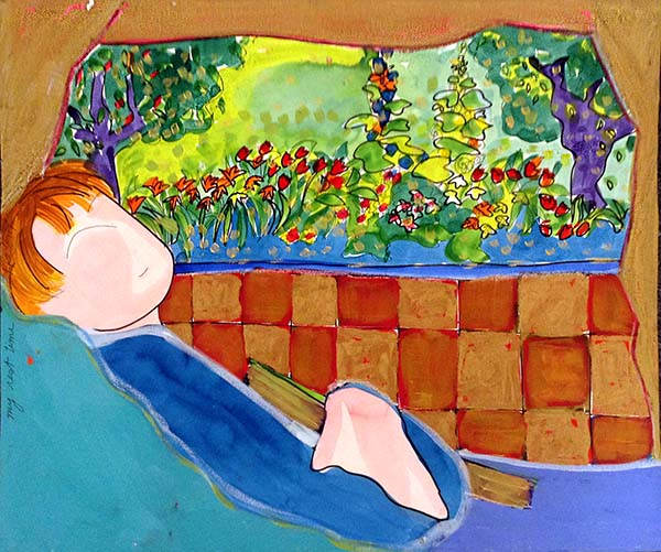 Katherine Porter - My Rest Time painting of person sleeping by window that looks out on garden