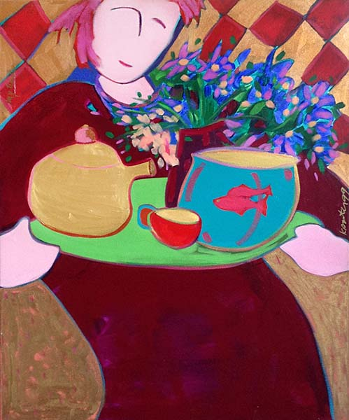Katherine Porter painting of a woman relaxing with tea, flowers, and fish in a bowl