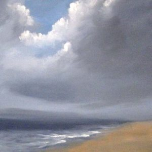Dannielle Mick Contemporary Seascape Painting with Dark Storm Clouds over Beach