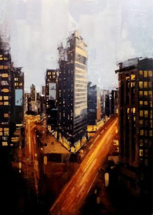 Kevin Kusiolek Contemporary Street Scene Oil Painting of New York City