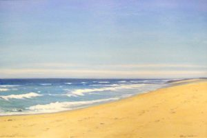 Hilary Baldwin Oil Painting on Canvas of Beach with Ocean Seascape Horizon