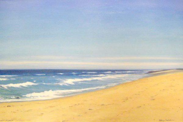 Hilary Baldwin Oil Painting on Canvas of Beach with Ocean Seascape Horizon