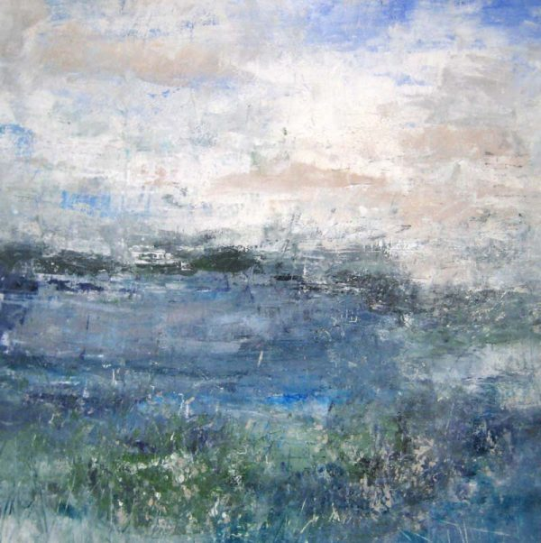 Jodi Maas Contemporary Abstract Seascape with Clouds Ocean Sky and Horizon
