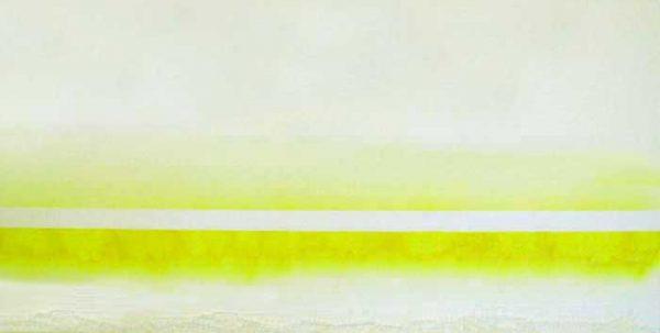 Wendy Shapiro Sustainable Eco Mixed Media Art with Neon Yellow Stripe on White