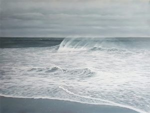 Antonia Tyz Peeples Traditional Realistic Ocean Seascape of Blue White Wave on Beach