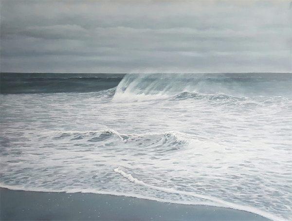 Antonia Tyz Peeples Traditional Realistic Ocean Seascape of Blue White Wave on Beach