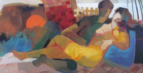 Hessam Abrishami large oil painting on canvas of two people embracing