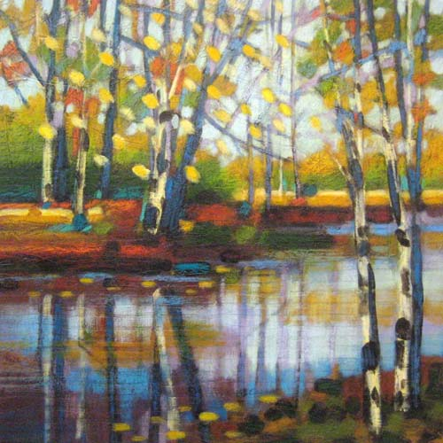 Robert Chapman Oil Painting on Paper of Spring Forest River in Woods with Water and Trees