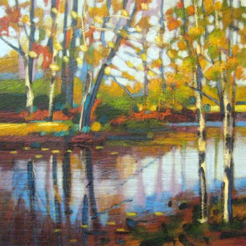 Robert Chapman Painting of Birch Trees next to pond
