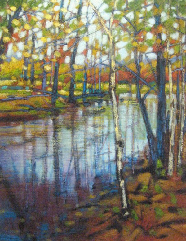 Robert Chapman River Diptych Landscape of Trees and Reflections on Water in Autumn