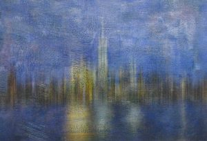 Stephen Rostler Abstract Photo Cityscape Skyline of New York City in Blue