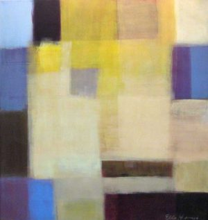 Ellen Hermanos Abstract oil paining on canvas with mustard yellow purple beige and peach