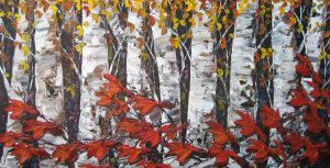 Maya Evantov Oil Painting of Birch Tree Forest on Canvas