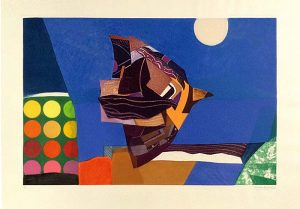 Max Papart - Night abstract print of bird
