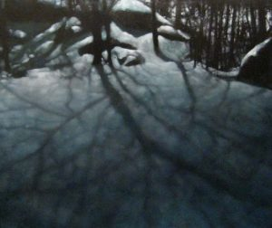 Carol O'Malia - Carol Omalia - Nightfall - Painting of shadows cast on the snow