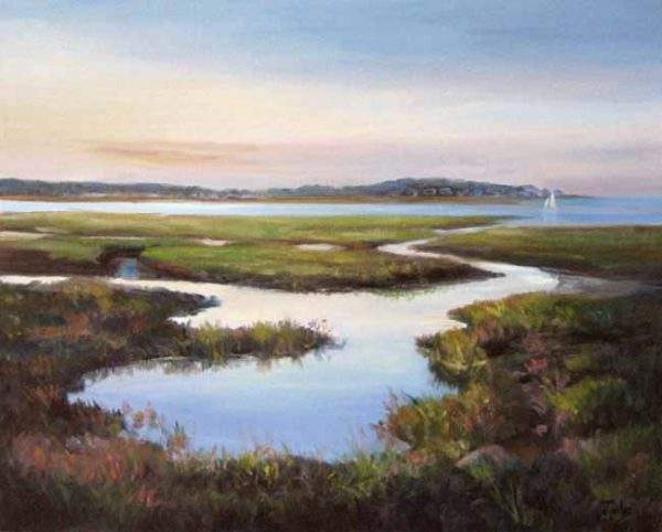 Celia Judge Painting of a river receding into a sunset