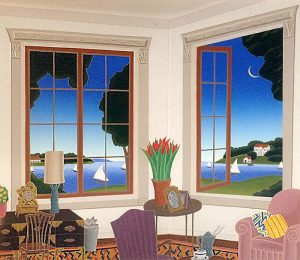 Thomas McKnight - North Shore print of living room overlooking harbor with sailboats