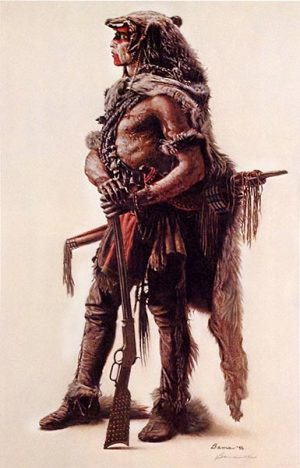 James Bama - Northern Cheyenne Wolf Scout print of native american man in profile with a rifle