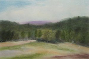 Painting of a field with trees and hills