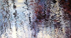 Lynne Adams Oil Painting on Canvas of Water Ripples Waves Light Reflections