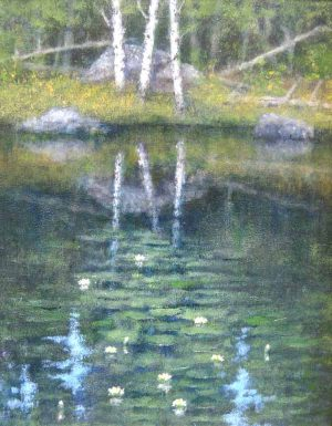 George Marks Oil Painting of Lush Trees and Pond