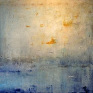 Timothy OToole O'Toole Neutral Abstract Oil Painting in Blue and Beige on Canvas