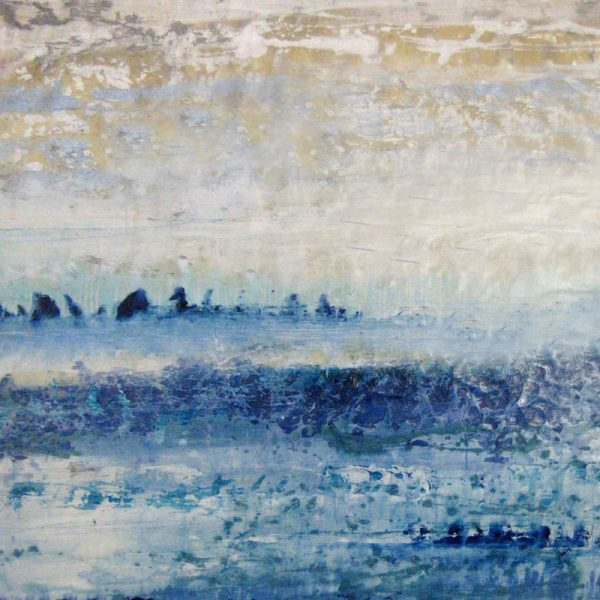 Alexys Henry Blue Nautical Oil Painting on Canvas of Horizon With Waves and White Clouds