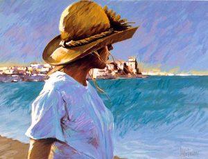Aldo Luongo - Ocean Girl print of girl in hat at beach