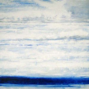 Joshua Schicker Contemporary Oil Painting of Abstract Seascape Horizon in Blue and White