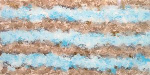 Connie Kolman Artisan Glass Mixed Media of Abstract Ocean and Sand