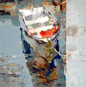 Josef Kote - Off the Mist giclee small boat in water