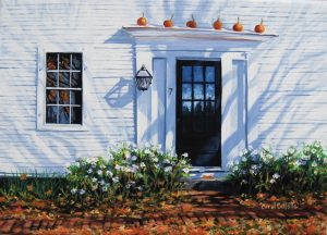 Carol Collette - Pumpkin Time - Oil Painting on Canvas of Pumpkins on Front Porch