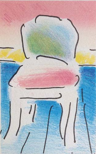 Peter Max - Old Chair - Blue Floor print of chair with green back and pink seat