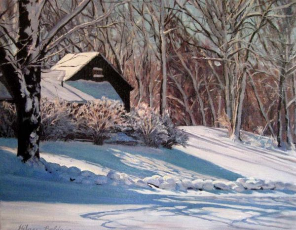 Hilary Baldwin Painting of Forest Cabin in the Winter Snow