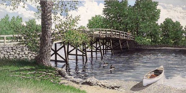 Carol Collette etching on paper of wooden old north bridge over river with small boat