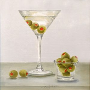 Patti Zeigler Contemporary Oil Painting Still Life on Board of Olive Martini