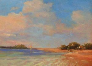 Monique Sakellarios - On the Beach - Painting of a sunny blue sky and the ocean