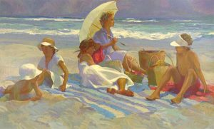 Don Hatfield - On the Beach print of five people sitting on towels with ocean in background
