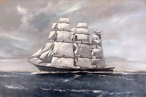 Scott Duncan On High Seas painting of ship sailing on ocean