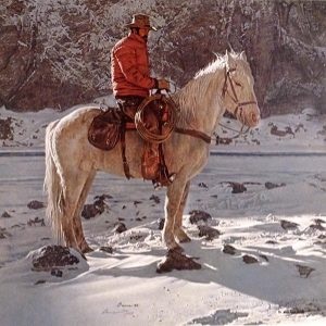 James Bama - On the North Fork of the Shoshoni print of man on white horse during winter