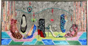 Lauren Mehrberg Mosaic of Shoes with Tools and Mixed Media