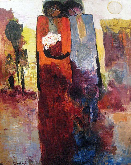 Goli Mahallati - One Spring Day print of two people walking, one of them is holding flowers